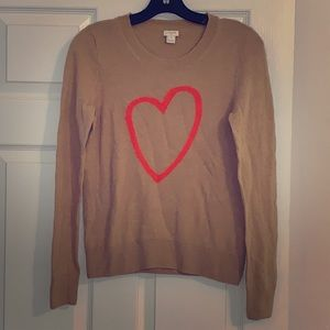 JCREW Tan with Coral Heart Sweater - Small